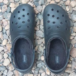Crocs dual comfort fleece lined clogs black sz 13